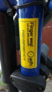 Codiertes Fahrrad mit Kodieretikett